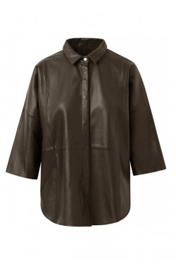Leather shirt Dusty Taupe