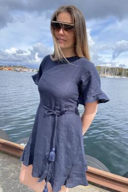 Francesca linen dress Navy