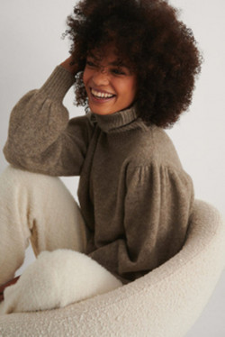 Wool Polo Neck Brown