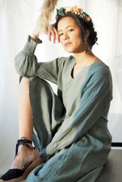 Iris Linen Dress Olive